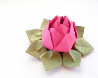 Paper flowers etsy handmade origami lotus flower paper flower fuchsia pink moss green teen birthday mothers day gift mightylinksfo