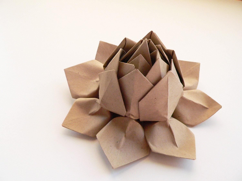Origami lotus flower handmade paper flower paper bag tan etsy zoom izmirmasajfo