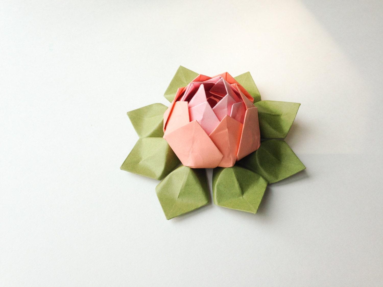 Bright Dawn Lotus Flower Origami Lotus Flower Pink Coral Etsy