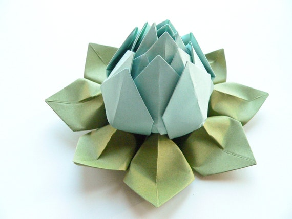 Origami lotus flower in robins egg blue and moss green etsy image 0 mightylinksfo