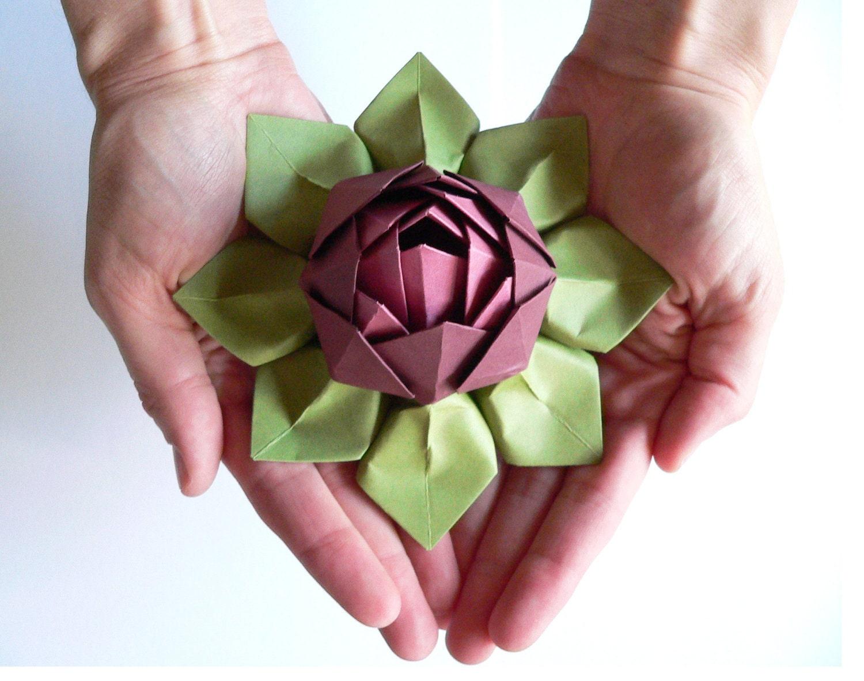 Handmade Paper Flower Origami Lotus Flower Decoration Or Etsy