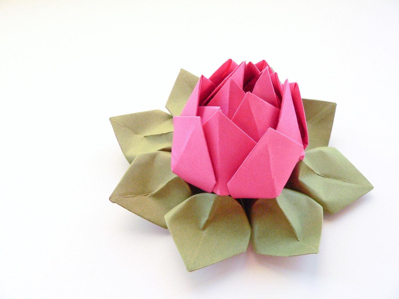 Handmade Origami Lotus Flower Paper Flower Fuchsia Pink Etsy