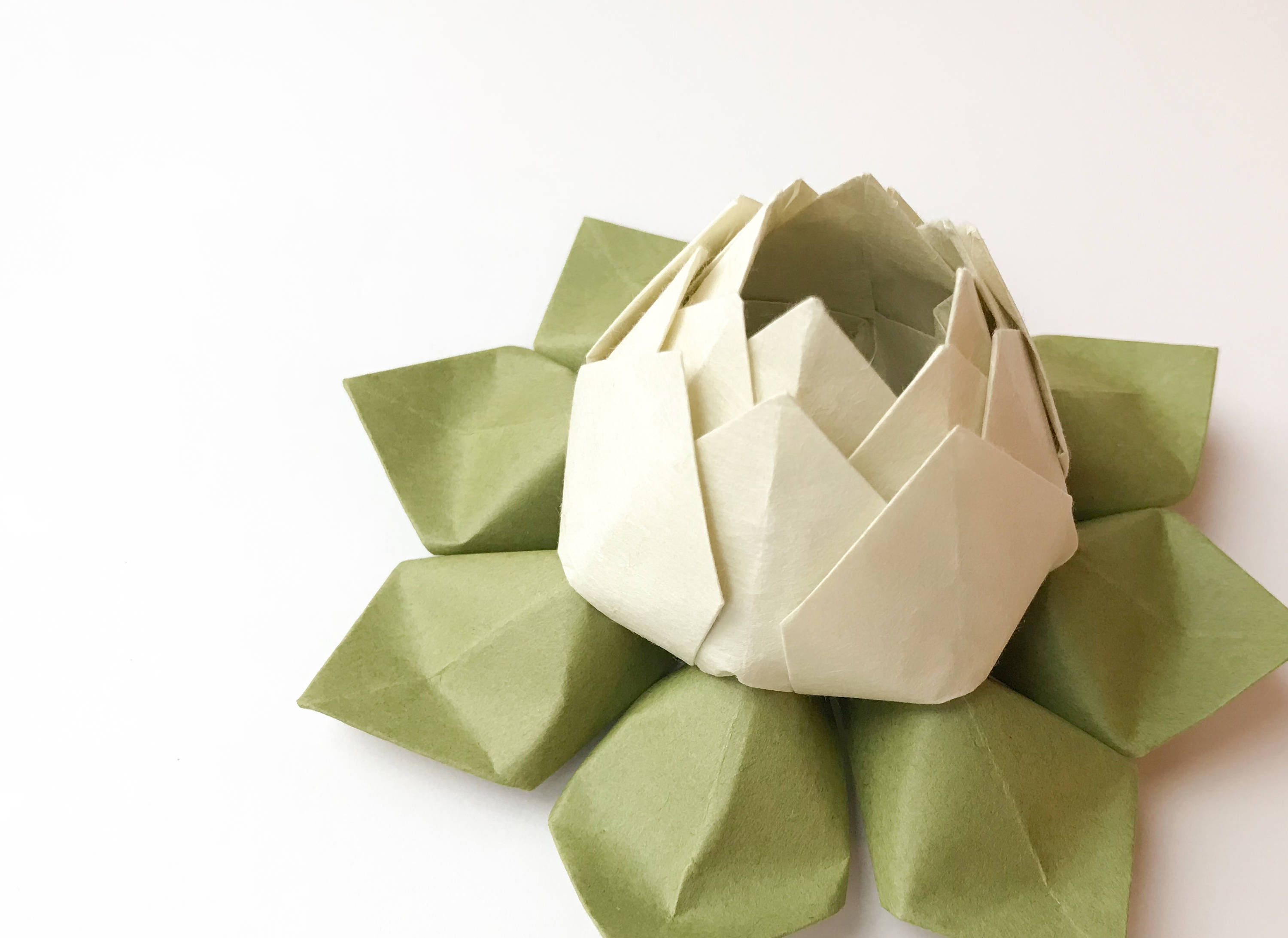 Origami Lotus Flower In Sage And Moss Green Paper Flower Etsy