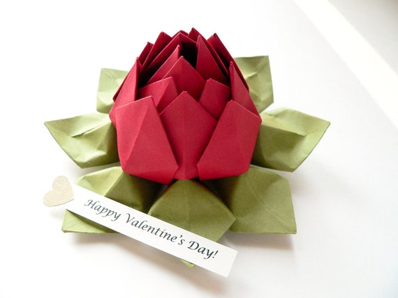 Personalized paper flower origami lotus flower with romantic etsy image 0 mightylinksfo