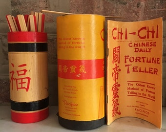 Pacifico Chinese Fortune Telling Sticks and Booklet 2 Sets Incomplete 1915 Copyrighted