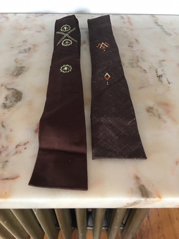 Pair of Men's 1950s Rockabilly Square Embroidered
