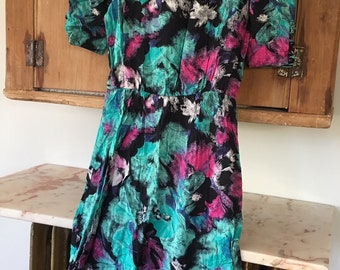 80s Abstract Print Dress