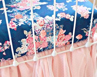 Navy Floral crib sheet,  Baby Girl Bedding, Blush Pink and Navy Crib Bedding