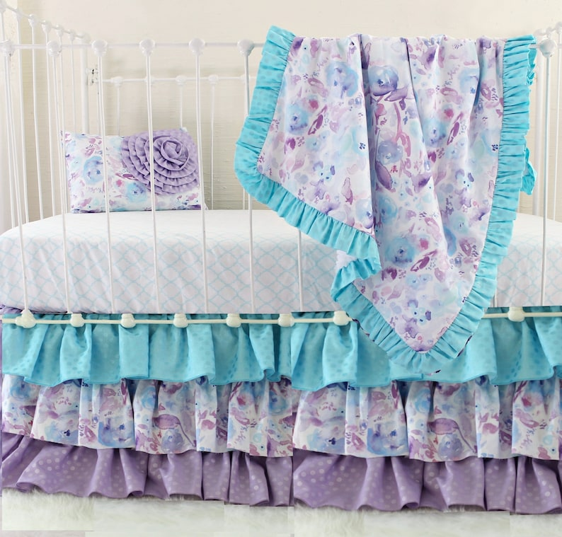 Purple Crib Bedding Set Girl | Ocean Dreams Watercolor Floral Baby Bedding  | Lavender U0026 Aqua Custom Baby Girl Nursery