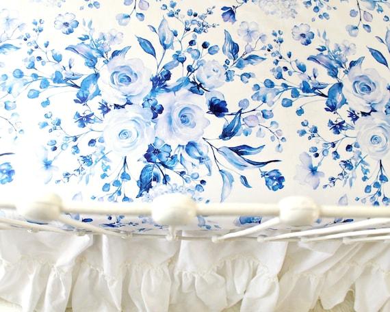 Lit De Bebe Feuille Fille Indigo Blue Roses Bebe Linge De Etsy