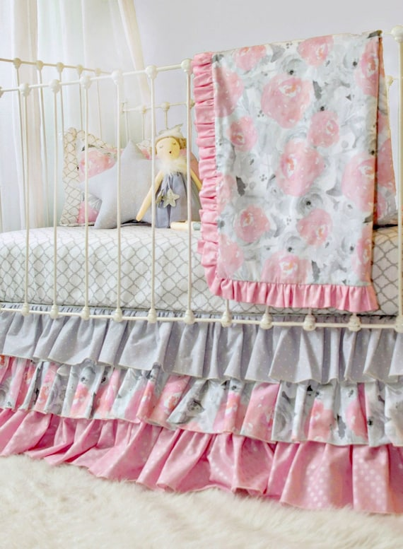 Gray Pink and White Baby Girl Bedding Set for Custom Nursery | Lottie Da  Baby Exclusive Pink Clouds and Silver Linings Crib Bedding Design