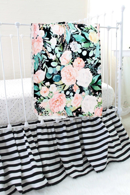 Black And White Striped Crib Skirt Baby Crib Bedding Girl