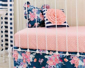Navy Floral Crib Bedding   Baby Girl Bedding   Coral and Navy Baby Bedding  Bumperless Crib Set Stripe Floral Bedding Girls Navy Bedding Set
