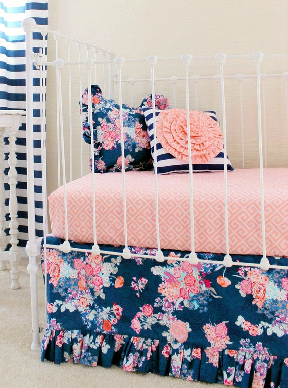 Navy Floral Crib Bedding Baby Girl Bedding Coral And Navy