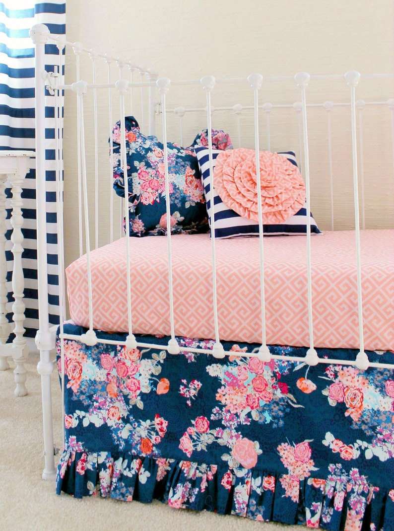 Navy Floral Crib Bedding Baby Girl Bedding Coral And Navy Etsy