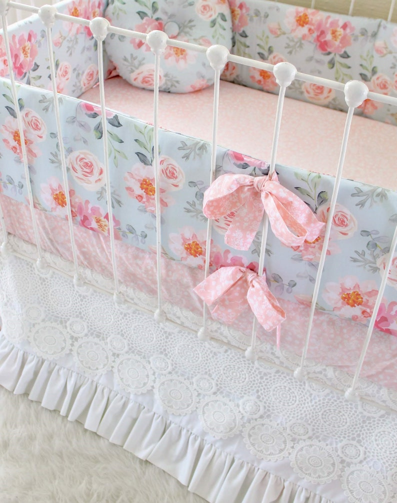 b32a8b8922199 Girls Crib Bedding Bumper Set in Dusty Blue and Pink, Romantic Blooms  Floral Baby Bedding with lace crib skirt , Vintage Inspired nursery.