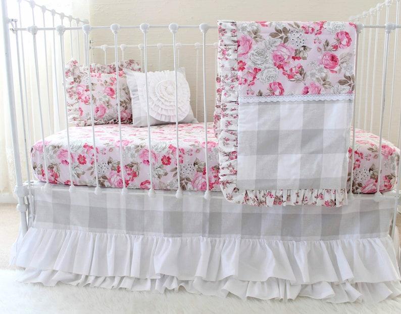 c557553ae6daa Baby Girl Crib Bedding Set, Pink Roses Farmhouse Nursery Set with Gray  Buffalo Check Fabric