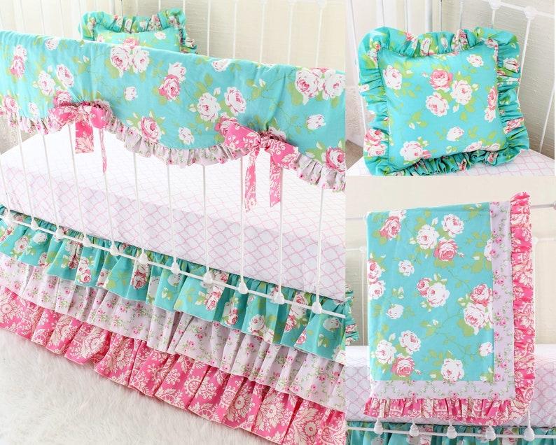 Shabby Chic Roses Crib Bedding Set Vintage Floral Baby ...