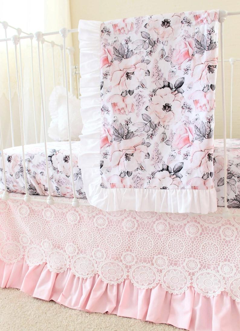 Verschneiten Rose Rüschen Baby Decke Floral Baby Girl Krippe Etsy