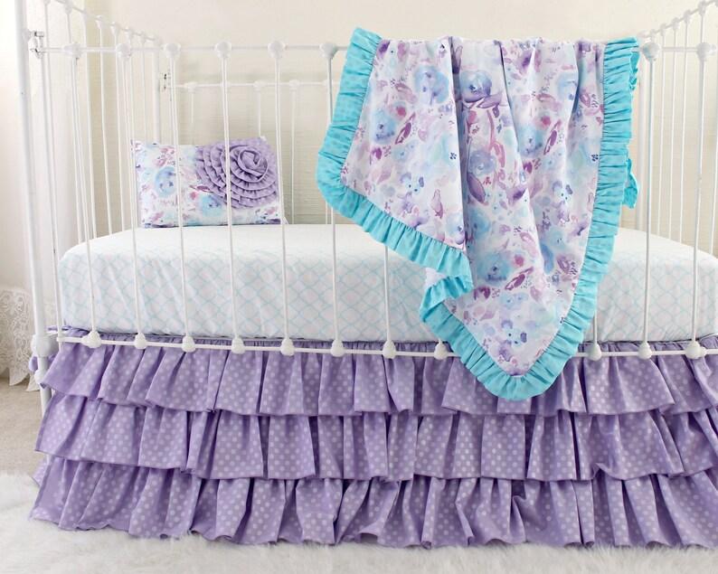 Purple Crib Bedding Ocean Dreams Bumperless Girl Bedding Set Etsy