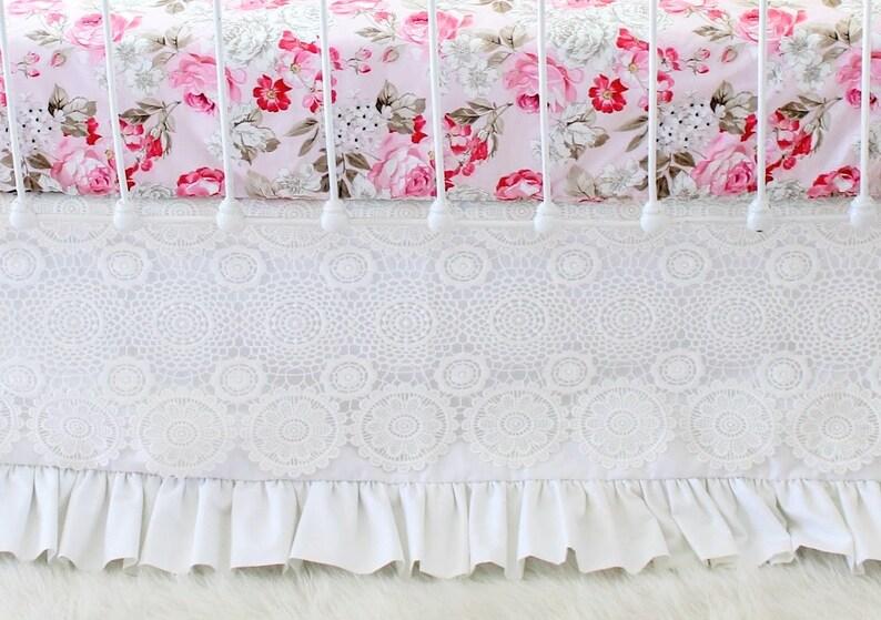 Weiße Spitze Krippe Rock Mädchen Kinderbett Bettwäsche Etsy