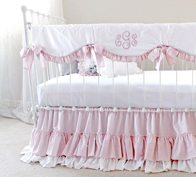 Baby Girl Crib Bedding Peonies Floral Nursery Decor Pink Peonies Nursery Throw Pillow