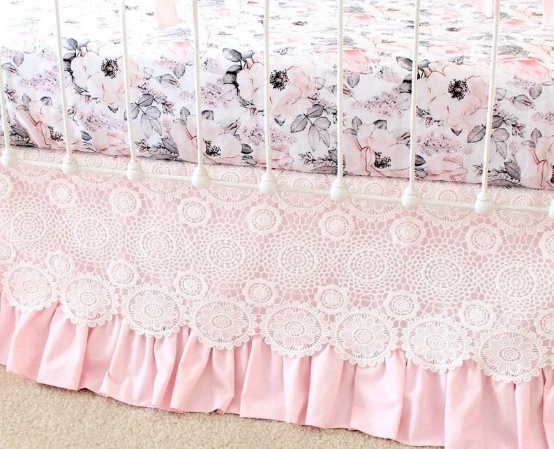 Lace Crib Skirt In Pale Pink Baby Girl Bedding Pink Nursery Etsy