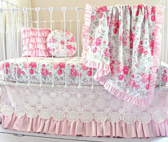 Vintages Chic Roses Fille De Literie Pour Bebe Rose Et Blanc Etsy