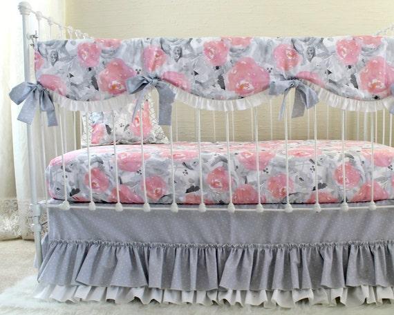 Aquarelle Cribsheet Floral Decor De Creche Gris Rose Coussin