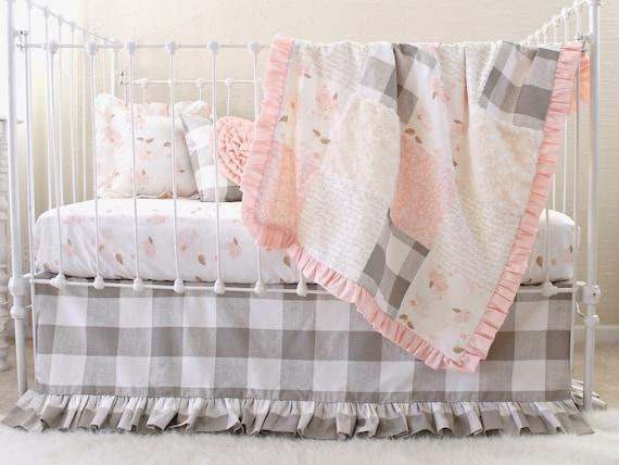 Vintage farmhouse girls handmade crib quilt set gray pink white cotton flannel minky sheet skirt little girl floral bunny cat