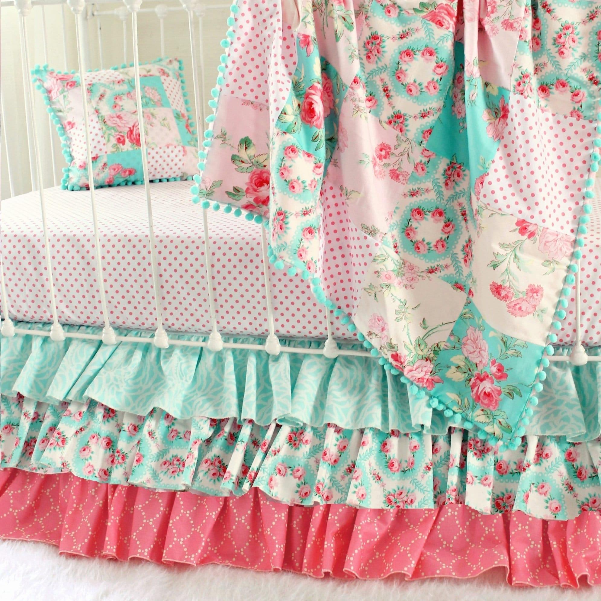 Girls Vintage Roses Crib Bedding With Ruffled Crib Skirt