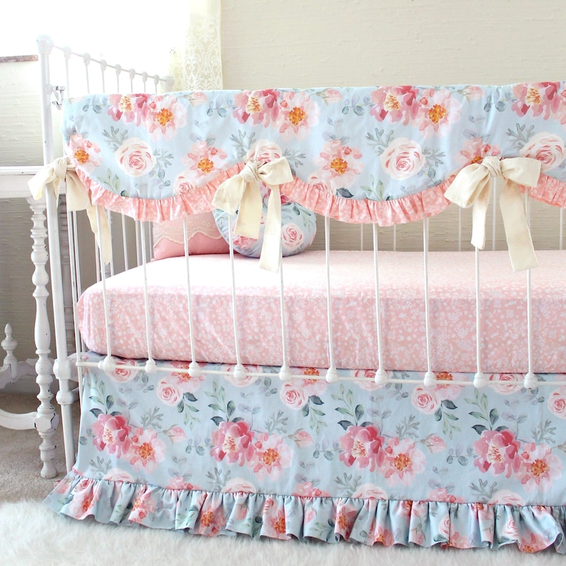 Floral Kinderbett Bettwäsche Erröten Rosa Baby Bettwäsche Etsy