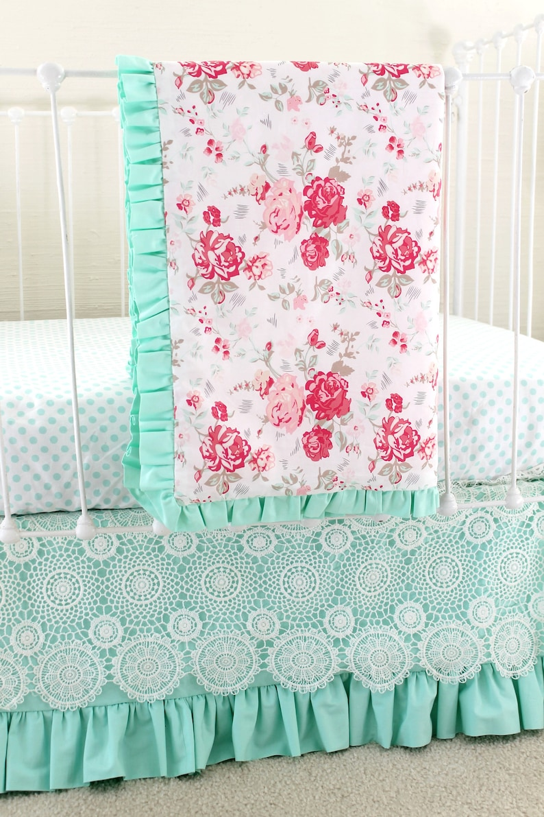 Mint Green Crib Bedding Vintage Chic Baby Bedding Set For Etsy