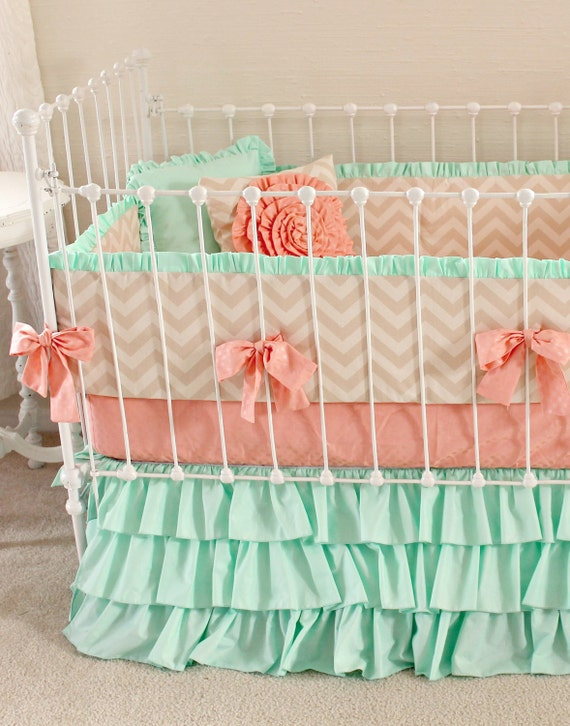 Mint Peach Baby Bedding Girl Crib Bedding Baby Girl Bedding