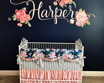 Girls Crib Set in Blush Pink and Navy,  Pink Ruffle Crib Bedding,  Baby Girl Bedding for Navy Nursery, Bumperless set with crib rail cover