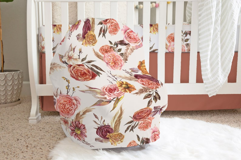 Rust Floral Changing Pad Cover Earth Tone Floral Baby Bedding Girl Baby Girl Nursery Accessories Autumn Boho Floral Changing Pad Cover
