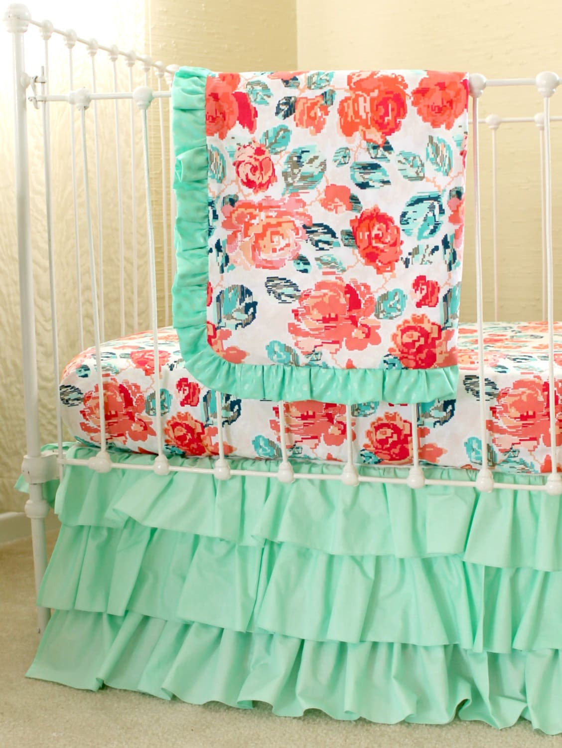 Pixie Park Coral Mint and Navy Baby Bedding Custom Baby | Etsy