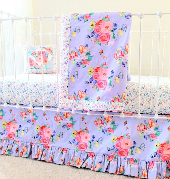 Purple Baby Girl Bedding Sale Lilac Floral Crib Bedding Set With Floral Baby Blanket