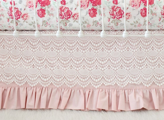 Blush Pink Crib Skirt With Vintage Lace Lace Crib Skirt In Etsy