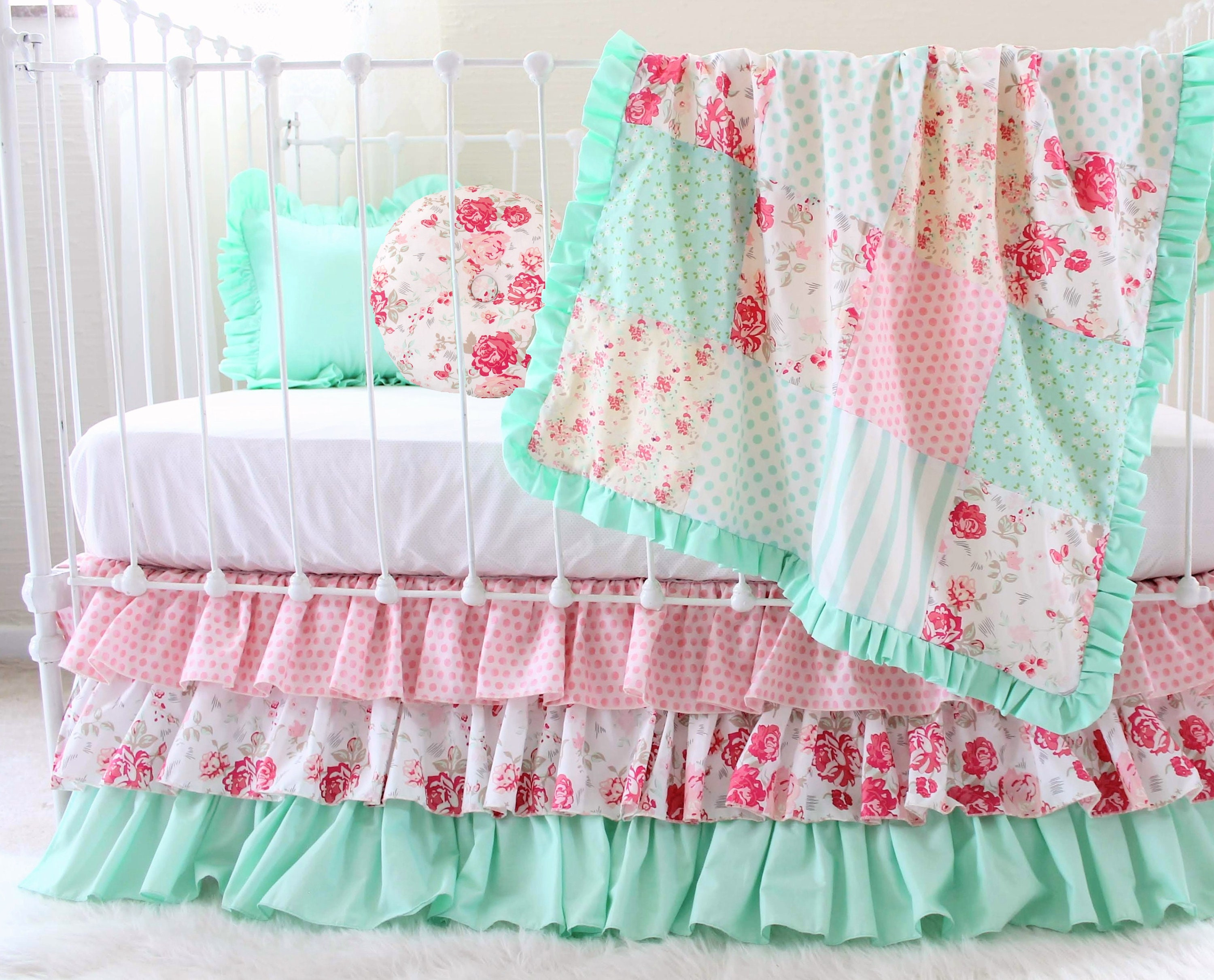 Girls Ruffle Crib Bedding Mint and Pink Vintage Roses ...