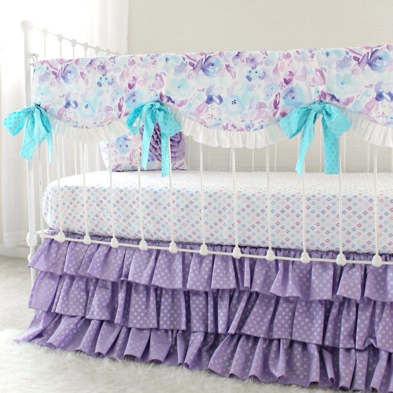 Merveilleux Purple Crib Bedding Girls Custom Bedding Set, Purple Watercolor Floral  Bedding Crib Set Bumperless, Lilac Floral Baby Crib Set Girl Nursery