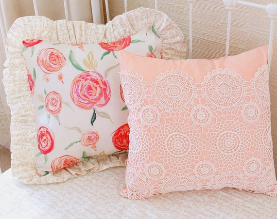 7 Inspiring Kid Room Color Options For Your Little Ones: Sweet Georgia Peach Throw Pillows Nursery Pillows Girl