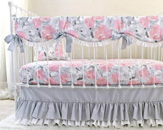 Rosa Grau Baby Bettwasche Rosa Wolken Und Silberstreifen Etsy
