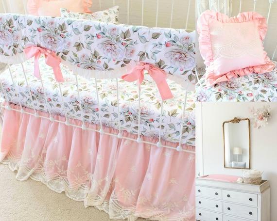 Girls Farmhouse Crib Bedding Set, Blush Pink and White Baby Girl Crib Set,  Floral Baby Bedding