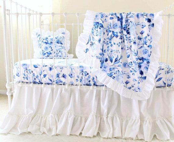 Ensemble De Literie De Bebe Roses Bleu Indigo Blanc Lit Bebe Etsy