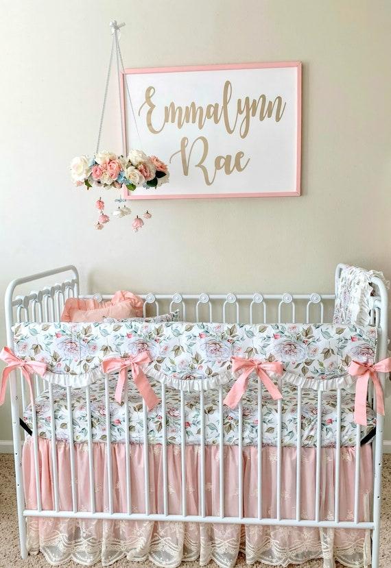 Floral Crib Rail Cover, Blush Pink and White Farmhouse Nursery Bedding,  Baby Girl Crib Bedding Set