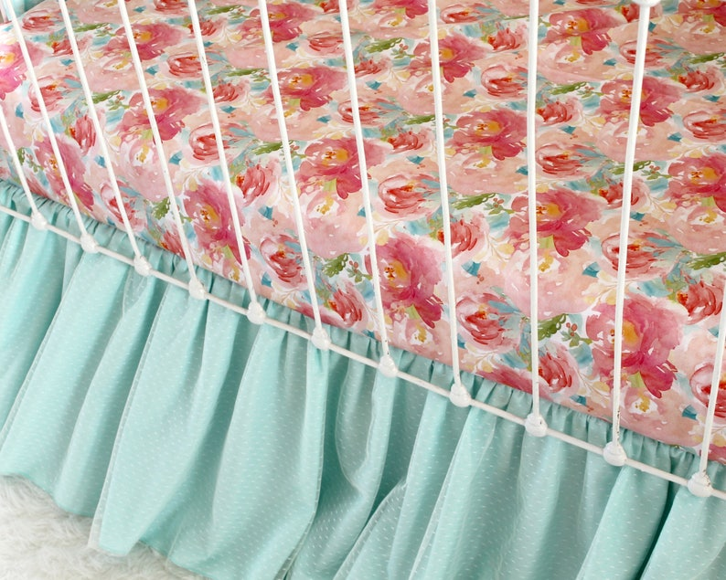 High Quality Satin Sateen Print from Lottiedababy Aqua and Pink Crib Sheet in Exclusive Pastels and Peonies Watercolor Floral Design