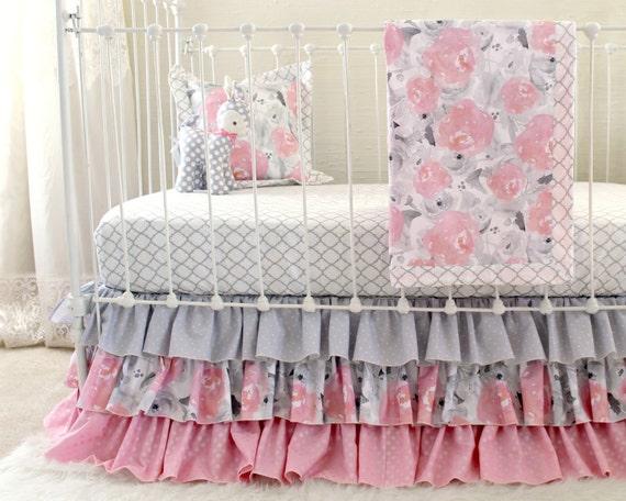 Rosa Grau Kinderbett Bettwasche Aquarell Blumen Baby Etsy