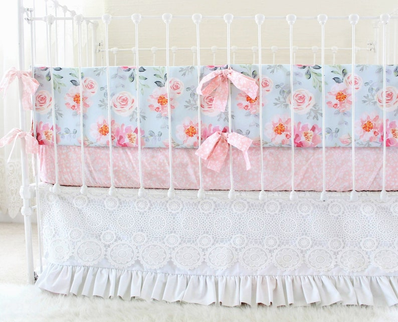 d967466add86b Girls Crib Bedding Bumper Set in Dusty Blue and Pink, Romantic Blooms  Floral Baby Bedding with lace crib skirt , Vintage Inspired nursery.