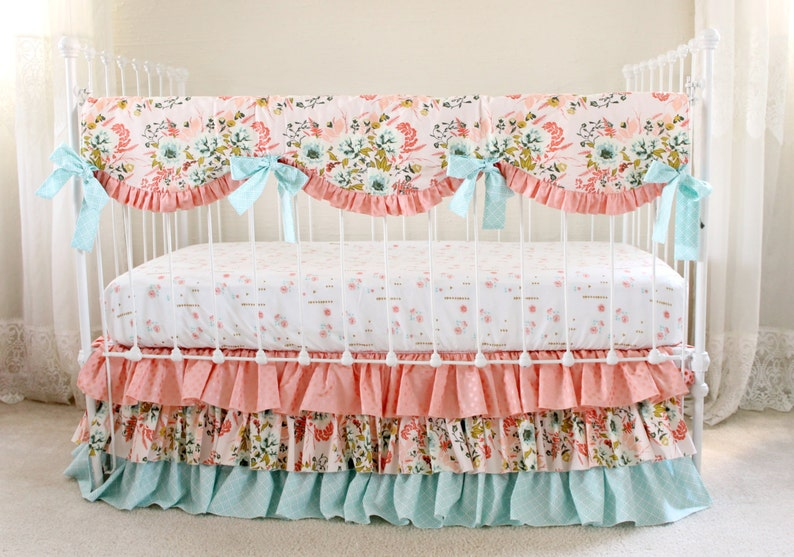 f317fa31607ab Blush Pink Floral Crib Bedding Set, Pink Coral and Aqua Baby Bedding with  Metallic Gold Accents, Baby Girl Bedding Set for Custom Nursery